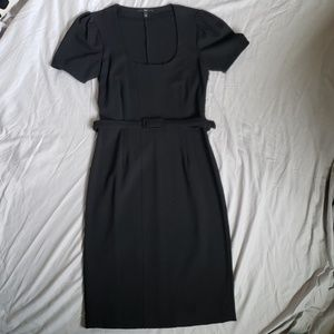 Hugo Boss black cap-sleeved dress